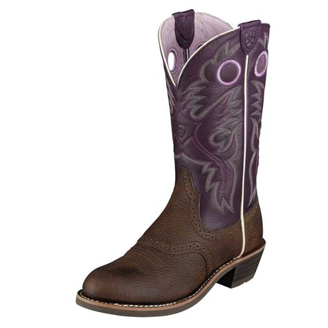 purple boots ariat western boots womens cowboy heritage roughstock
