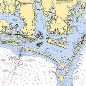 Coastal Shower Curtains North Carolina Beaufort To Cape Lookout Nautical Chart