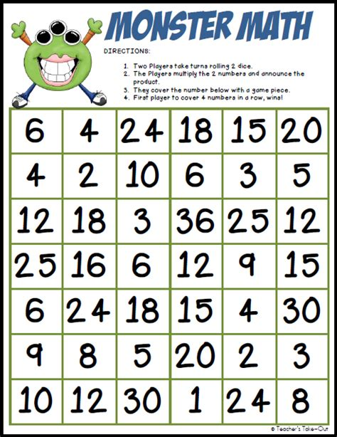 printable division games for the classroom monster math multiplication freebie teachers take out