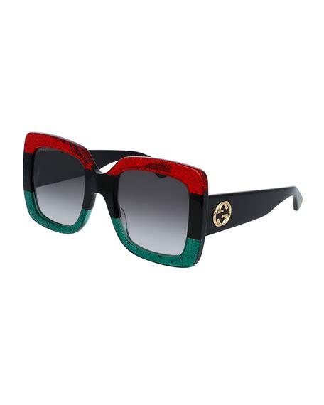 Square Oversized Sunglasses Black gucci glittered gradient oversized square sunglasses