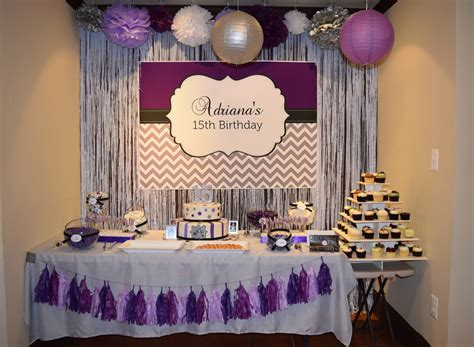 backdrop design birthday party purple silver and black birthday party candy buffet ideas