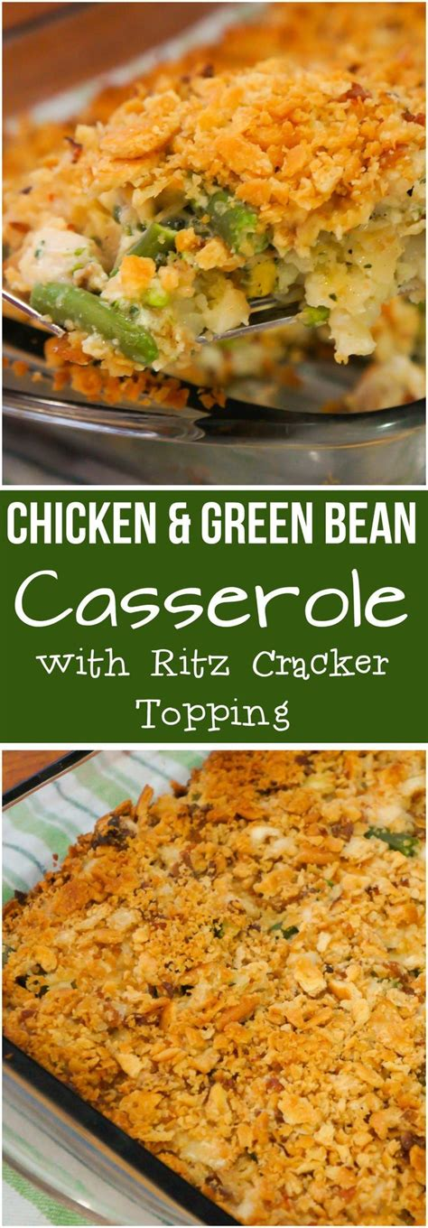 chicken green bean casserole   crispy ritz cracker