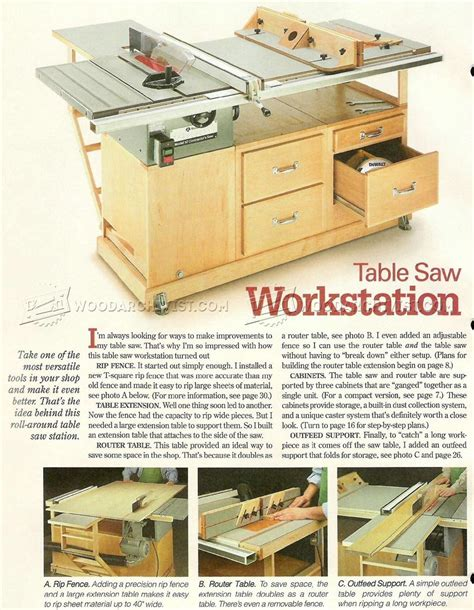 table saw router table woodworking plan table saw workstation plans woodarchivist
