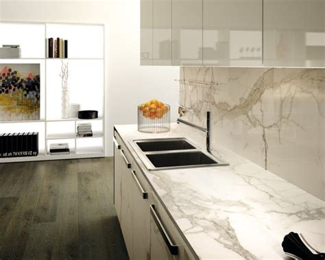 Kitchen Bench Designs by Caesarstone Statuario Maximus Benchtop Amp Splashback