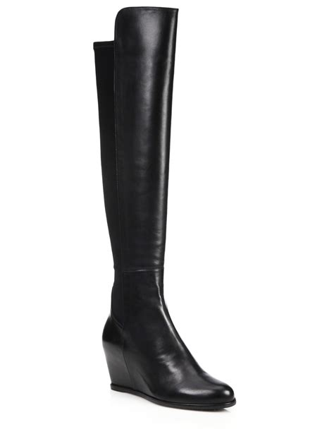 The Knee Wedge Boots stuart weitzman the knee wedge boots 28 images lyst