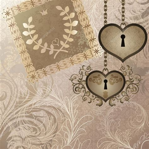 classic wedding wallpaper vintage background with wedding invitation and two heart