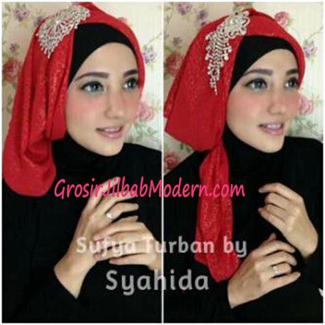 Jilbab Pesta Instan Alifa Fatimah turban pesta sufya exclusive by syahida merah grosir jilbab modern jilbab cantik jilbab syari