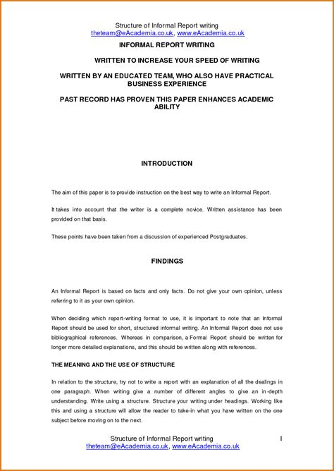 Report Format Essay by 10 Informal Report Writing Format Lease Template