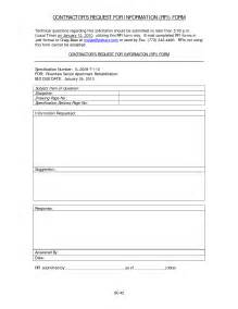 Rfi Forms Template by Best Photos Of Request For Information Template Excel