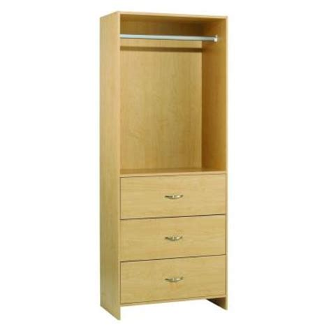 Home Depot Drawers For Closets by Akadahome 3 Drawer 1 Rod Laminate Closet Tower Organizer