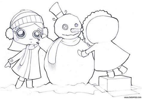 girl snowman coloring page friends make a snowman coloring pages hellokids com