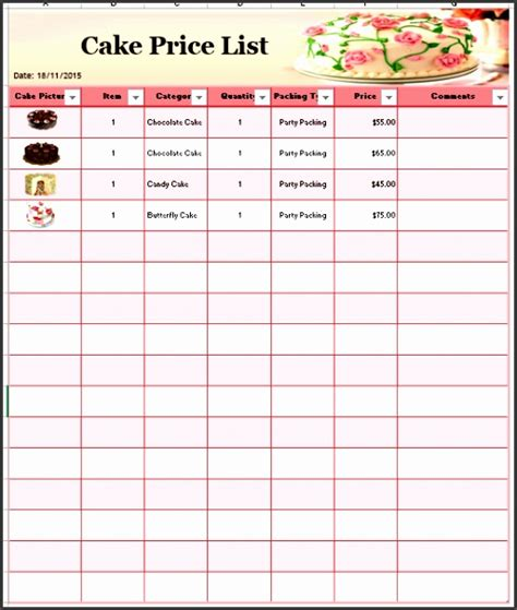 cake price list template 7 photo price list template sletemplatess