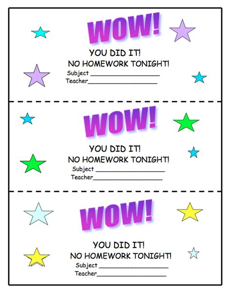 printable free homework pass the gallery for gt no homework coupon