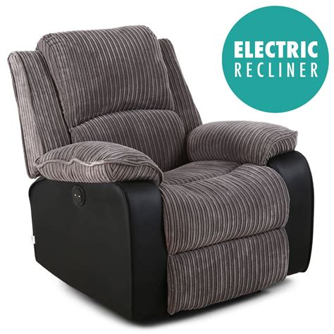 armchair recliner postana grey jumbo cord fabric power recliner armchair