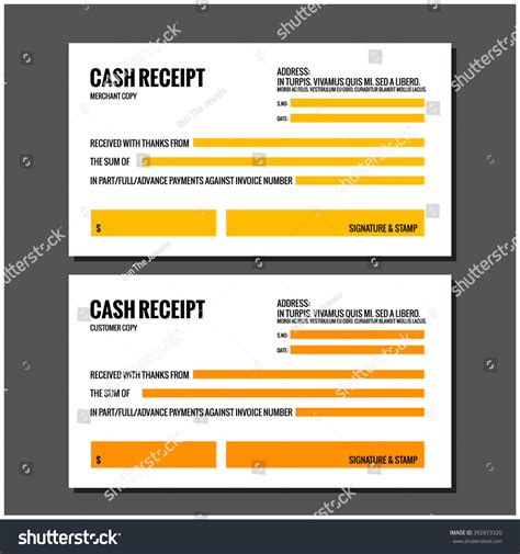 website design receipt template receipt design template stock vector 392873320