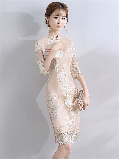 Embroidered Sleeve Cheongsam chagne embroidered qipao cheongsam dress with half