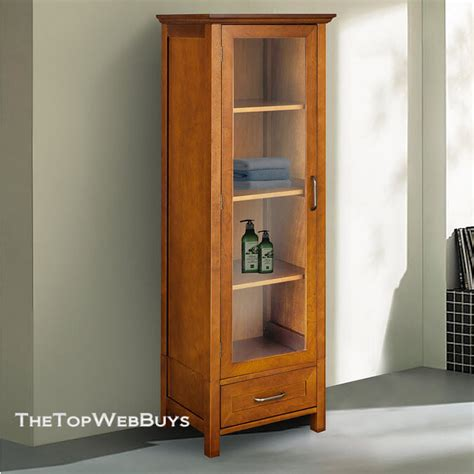 bathroom cabinet linen tower storage oak  standing organizer shelves wood ebay