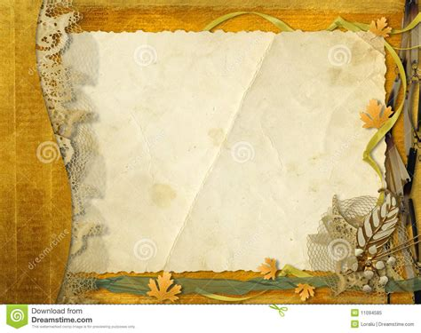 old grunge paper with autumn leaves royalty free stock