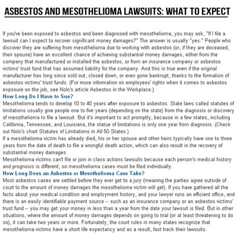 Mesothelioma Lawsuit Settlements by February 2014