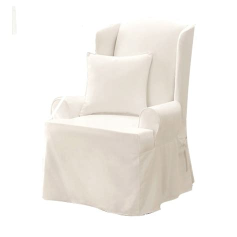 wing chair slipcover white sure fit twill 100 cotton supreme wing chair slipcover