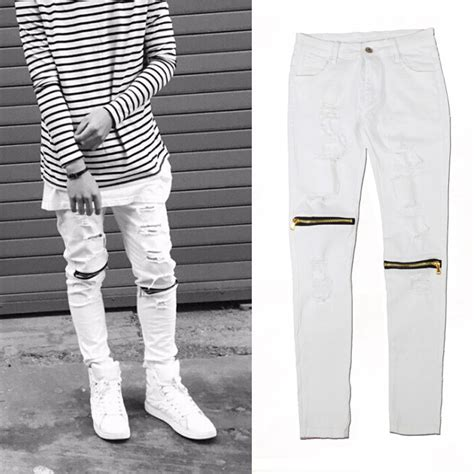 Knee Ripped Washed Premium Quality All Brand New ripped white mens ye jean