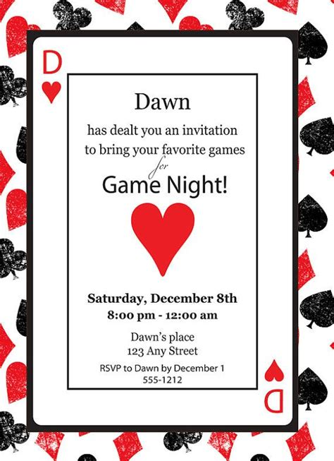 invitation design games game night casino playing card poker queen of hearts