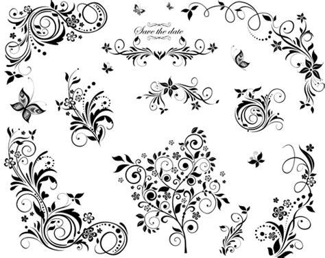 corner pattern vector cdr black floral decor object vector free vector in adobe
