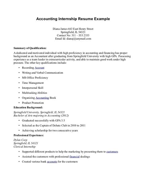 accounting intern resume exles accounting intern resume the best resume
