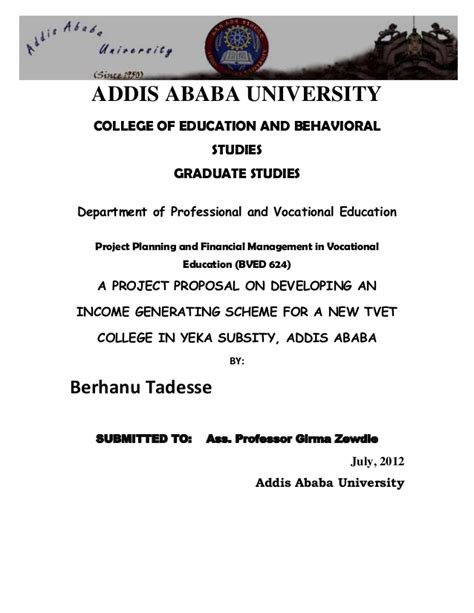 Sponsorship Letter Of Addis Ababa Project On Income Gemerating 1