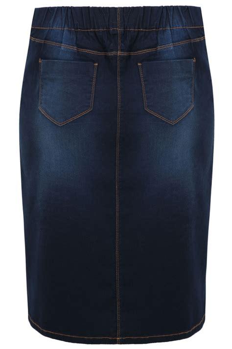 indigo denim pull on midi pencil skirt plus size 14 16 18