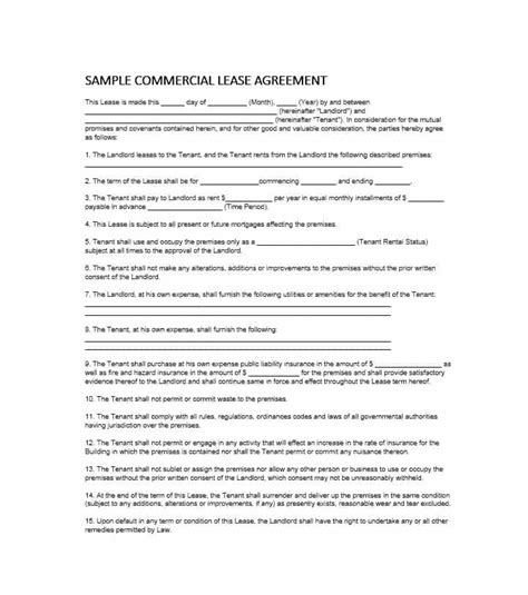 commercial rental lease agreement template 26 free commercial lease agreement templates template lab