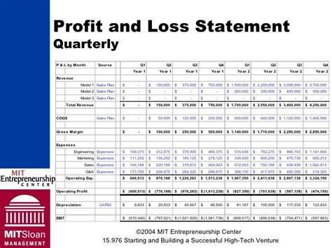 sle quarterly profit and loss statement template