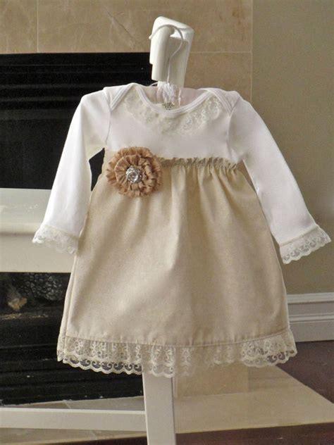 Shabby Chic Dress Baby Girls Vanilla Cream Lace Onesie Dress Shabby Chic Attire