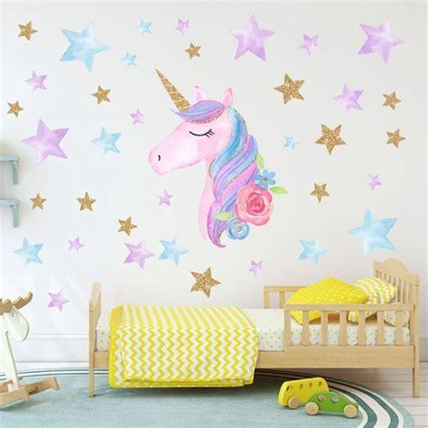 kartun lucu unicorn bintang hati stiker dinding wallpaper