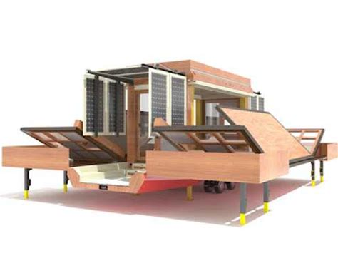 modern mobile home design featuring folding structure