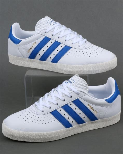 Adidas White Blue adidas 350 trainers white blue leather shoes originals mens