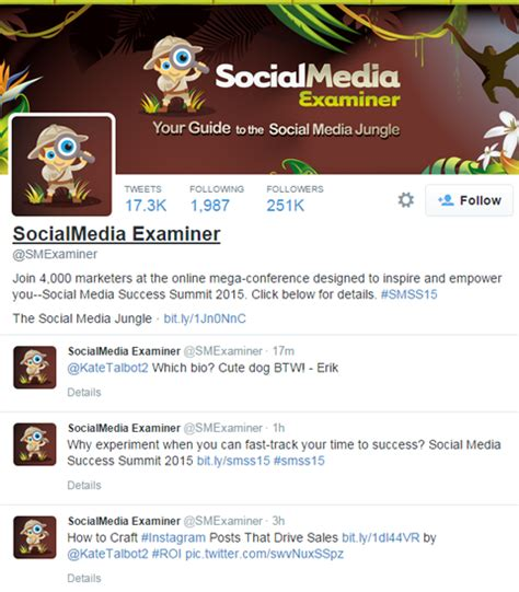 bio exles for twitter how to optimize your tweets for search social media examiner