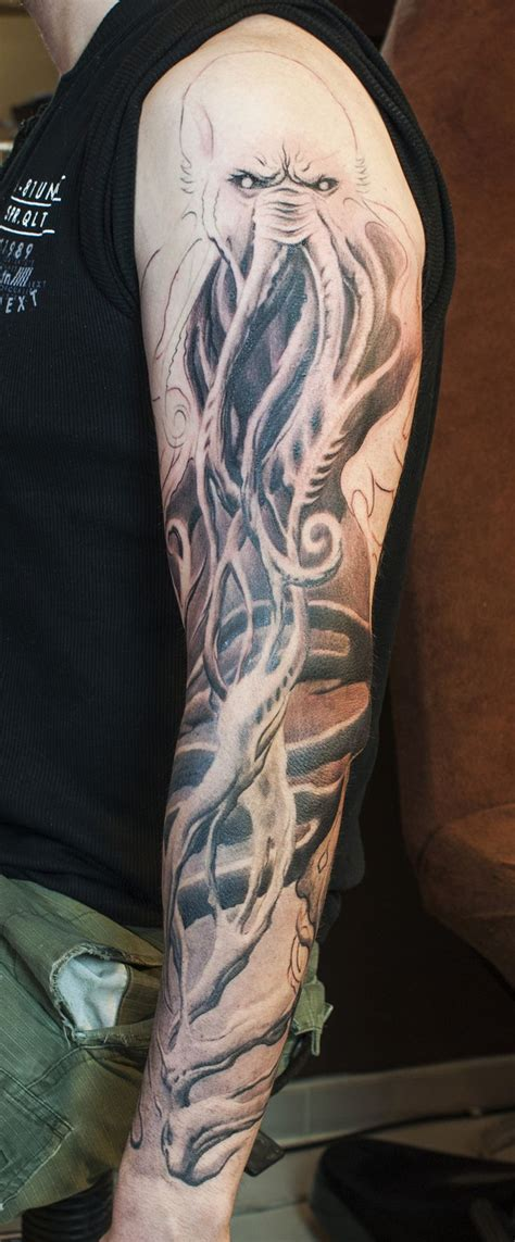art monster tattoo sleeve arm black and white our work