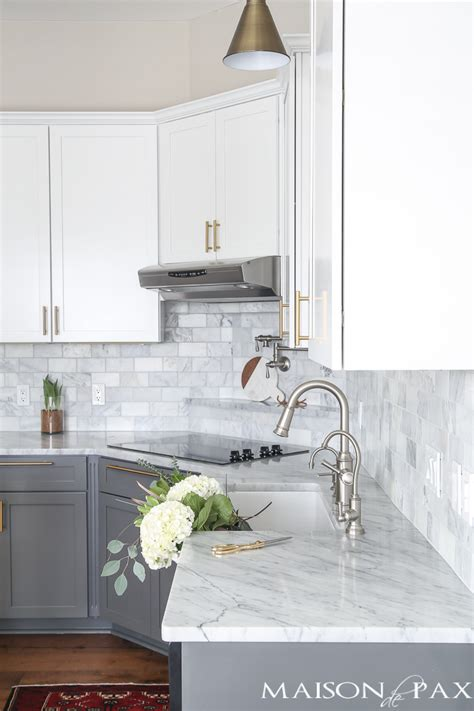 gray and white kitchen gray and white and marble kitchen reveal maison de pax