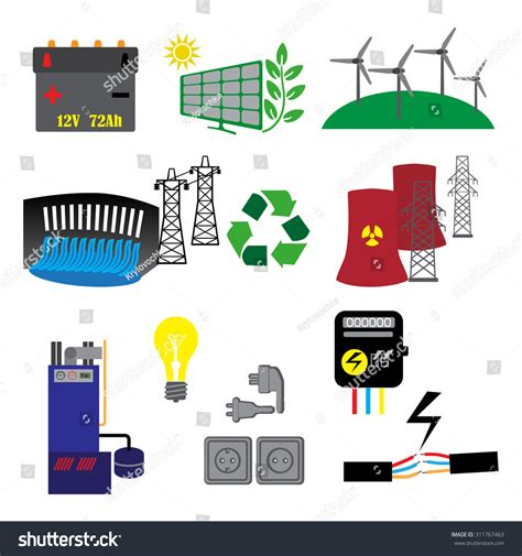 energy electricity power icons colors stock vector