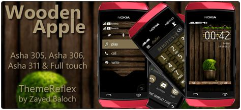 themes of nokia asha 305 wooden apple theme for nokia asha 305 asha 306 and asha