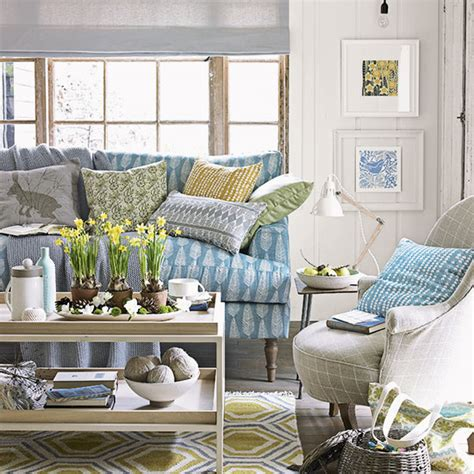 country living room with blue sofa decorating ideal home