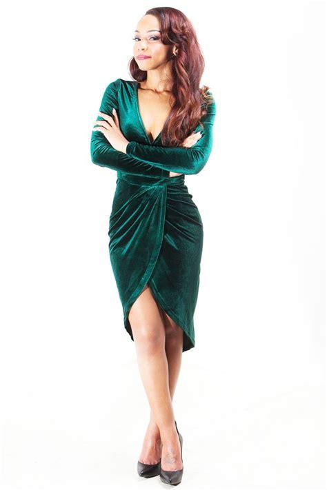 velvet wrapped emerald green velvet wrap dress 2 green leather