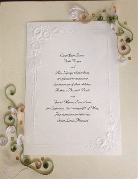 Wedding Invitations Keepsake Ideas by Paper Quilling Wedding Invitation Keepsake Quilling