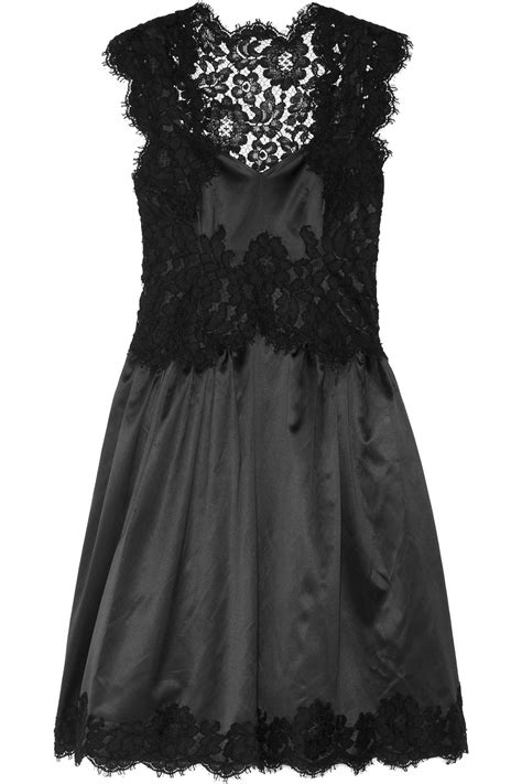 Dress Moschino lyst moschino lace trimmed satin dress in black