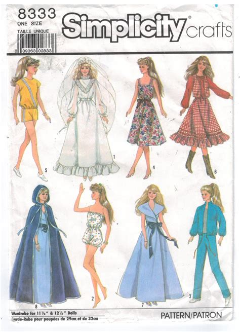 clothes pattern store simplicity pattern 8333 barbie doll clothes wardrobe bride