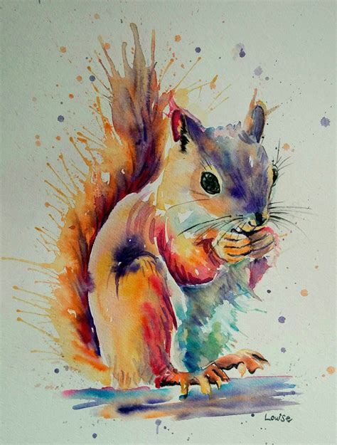 water color animals watercolour squirrel watercolors in 2019 watercolor