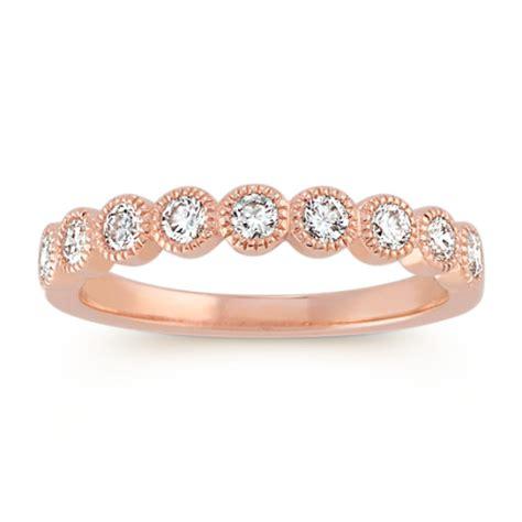 bezel set wedding band bezel set diamond wedding band in 14k rose gold shane co