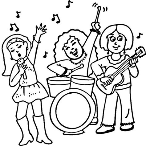 concert of a female rock band coloring page