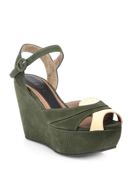 green wedge sandals marni wedge sandals in green lyst